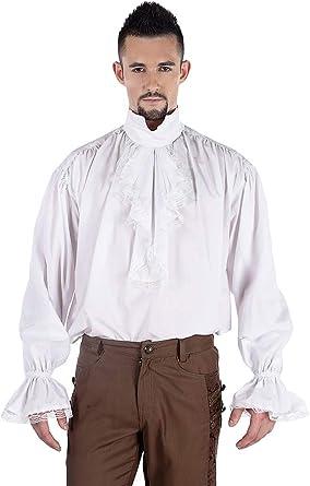 Pentagrama de camisa blanca con buche y bordes de encaje ...