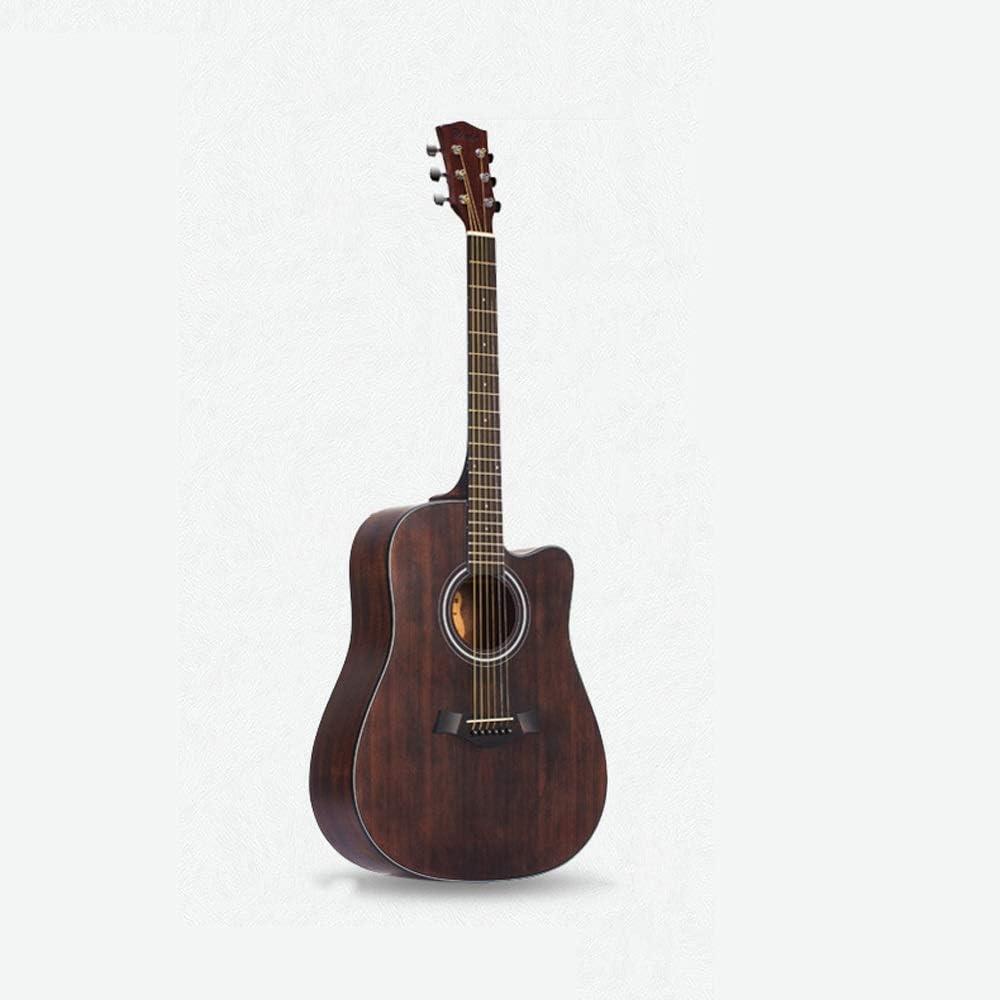 Miiliedy Diseño minimalista Textura retro Guitarra acústica hecha a mano completa 41 pulgadas Guitarra acústica de color vintage Panel de abeto Estudiantes principiantes Práctica de instrumentos de gu