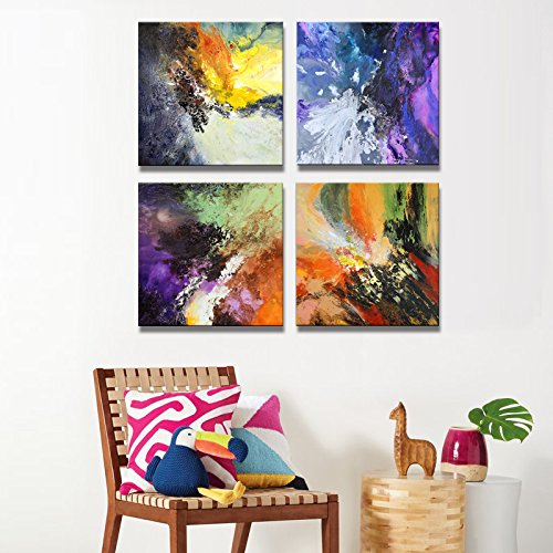 Sunrise Art-Canvas Prints Original Colorful Abstract Painting on Canvas Modern Abstract Cosmos Canvas Art for Living Room by SUNRISE ART (Image #3)