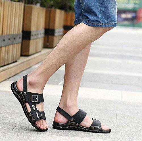 GLTER Hombre Open Sandalias 2017 Nuevo Verano Zapatos De Playa De Hebilla Respirable Zapatillas Zapatos Casuales Black