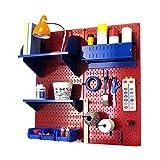 Wall Control Hobby Craft Pegboard Organizer Storage Kit, Red/Blue