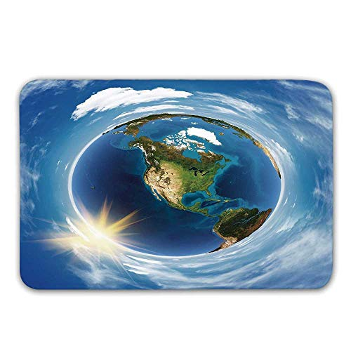TecBillion World Front Door Mat,America Landscape from Space Artwork Twirly Clouds Sun Orbit Ecology Geography Doormat for Inside or Outside,31.5