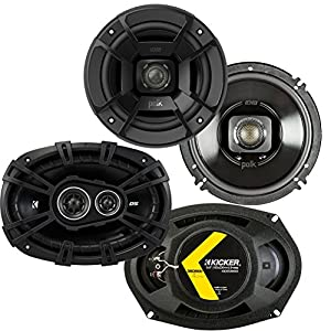 "Rockford Fosgate Polk Audio 6.5"" 300W Marine Speakers + Kicker D-Series 6x9 360W Car Speakers"