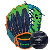 Franklin Sports Teeball Glove - Left and Right Handed Youth Fielding Glove - Meshtek Series - Synthetic Leather Baseball Glove - Ready To Play Glove - 9.5 Inch Right Hand Throw with Ball - Navy/Lime/Orange