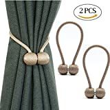 Lanticy Curtain Tiebacks, 2 Pcs Curtains Buckle Drapes Classic European Window Holdbacks Elegant Home Hotel Office Decorative Curtain Ropes Clips String Wrap Holders with Strong Magnetic (Coffee)