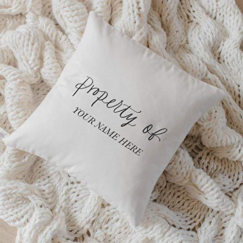 - Personalized Throw Pillow - Property Of, Handmade in the USA, calligraphy, home decor, wedding gift, engagement present, housewarming gift, cushion cover, throw pillow