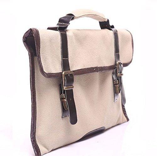 Beige Canvas Leather Handmade Messenger Laptop Bag