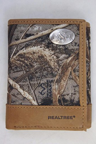 (Oklahoma State Cowboys Trifold Realtree Max-5 Camo & Leather Wallet w/ Metal OSU Concho - Zep-Pro - NCAA)
