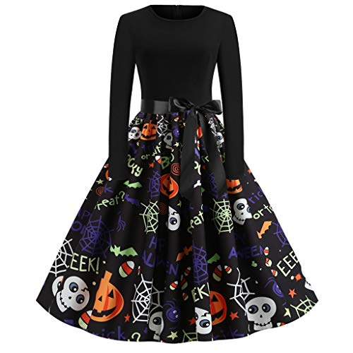 Ruffled Boyshorts Halloween (haoricu Halloween Dress Women Pumpkin Skull Skater Swing Dress Vintage Elegant A-line)