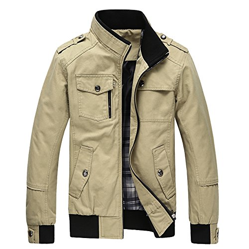 Us Navy Khaki (URBANFIND Men's Slim Fit Classic Fashion Navy Epaulet Casual Cotton Light Jacket US S Khaki)