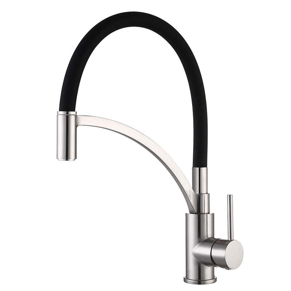 Black and Drawing MYYING TAP Kitchen Faucet, Swan Neck Mixer Hand Shower Faucet, Flexible Swivel Spout 360 ° Hot and Cold Alternative Water for Kitchen Sink Bathroom