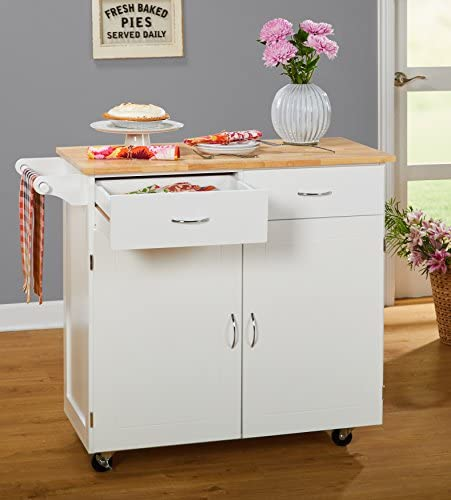 Target Marketing Systems 60046WHT Large Kitchen Cart White//Natural