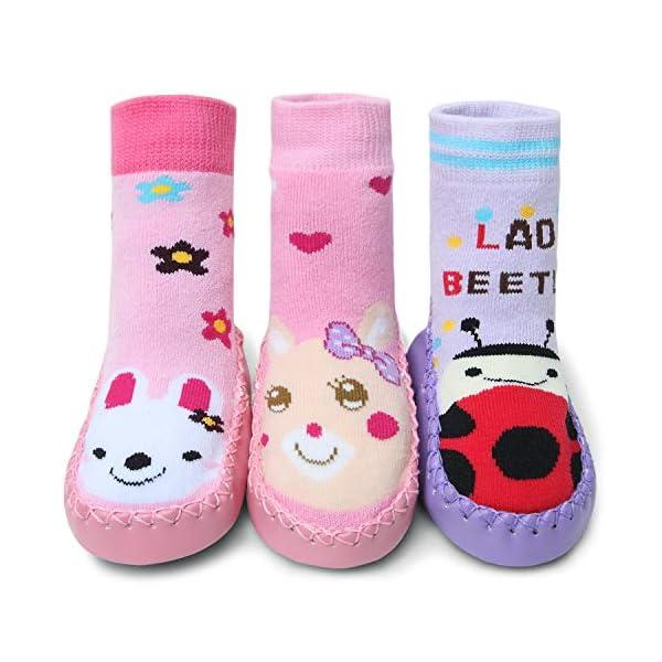 Adorel Baby Kids Anti-Slip Socks Winter Pack of 3