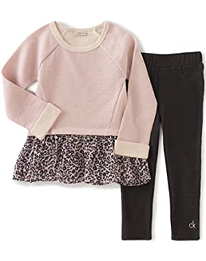 Baby Girls' French Terry/georgette Tunic With Leggings Set
