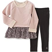 Calvin Klein Baby French Terry Tunic with Leggings Set, Coral, 12 Months