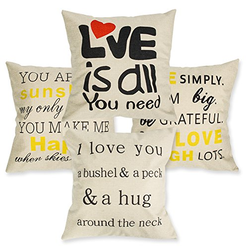 Throw Pillow Covers Decorative Pillowcases 18x18inch (4 pieces set) Pillow Cases Home Car Decorative (Art of letters - Pillowcase Art