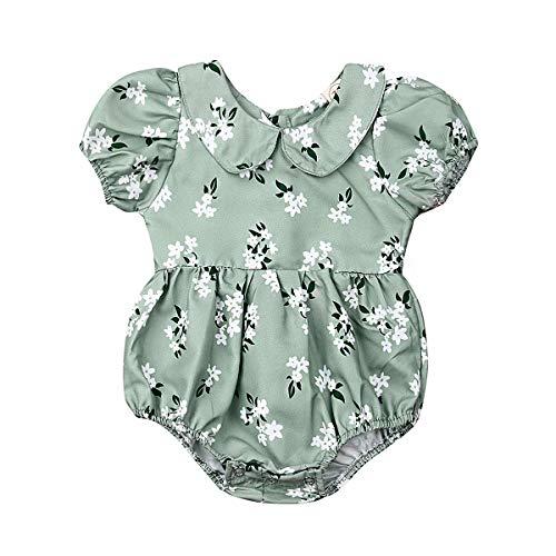 Hwaikun Baby Girl Jumpsuit Tutu Short Sleeve Ruffles Romper Floral Print Loose Sunsuit for 0-24mos (Green-Floral, 6-12 - Spring Tutu