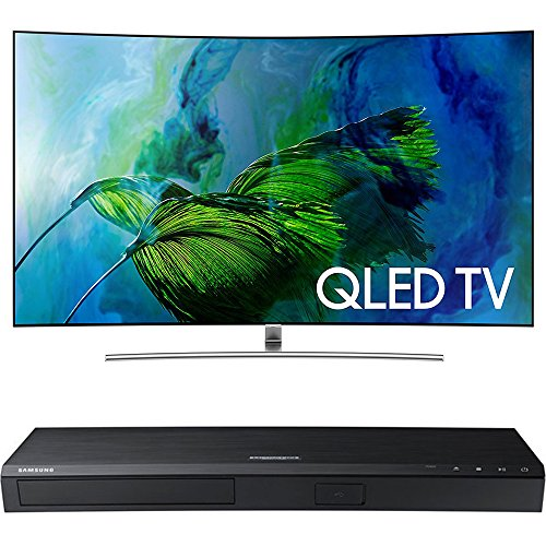 Samsung QN65Q8C Curved 65-Inch 4K Ultra HD Smart QLED TV w/ Samsung 3D Wi-Fi 4K Ultra HD Blu-ray Disc Player (Samsung 65 Inch Curved 3d Tv)