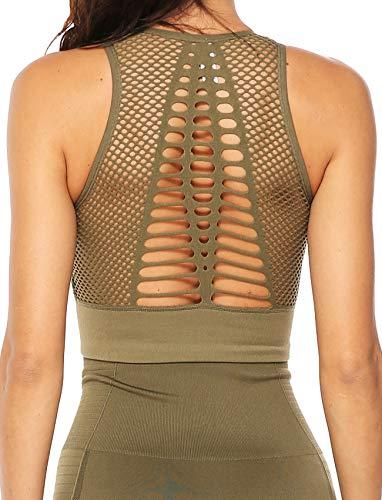 High Impact Seamless Sports Bra Women Yoga Bra Crop Tops Workout Fitness Activewear Racerback Padded Shirt XL
