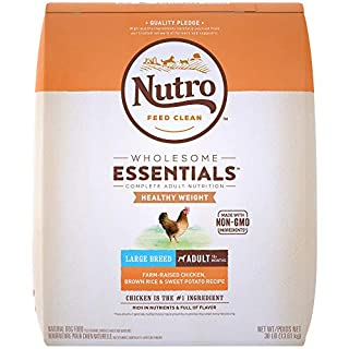 NUTRO WHOLESOME ESSENTIALS Adult Healthy Weight Large Breed Natural Dry Dog Food for Weight Control Farm-Raised Chicken, Rice & Sweet Potato Recipe, 30 lb. Bag