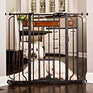 Carlson Home Design Extra Tall Walk Thru Pet Gate with Small Pet Door, Includes Décor Hardwood, 4-Inch Extensi