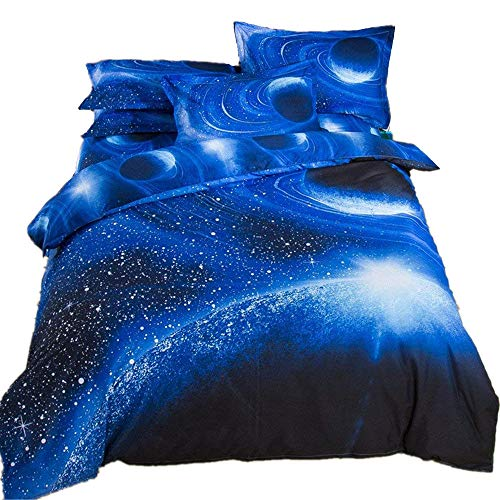 (Duvet Cover Set 3D Galaxy Sky Cosmos Night Pattern Bedding Sets Hypoallergenic Microfiber Ultra Soft Comforter Cover Set Sparkly Stars with Zipper Closure Twin XL)