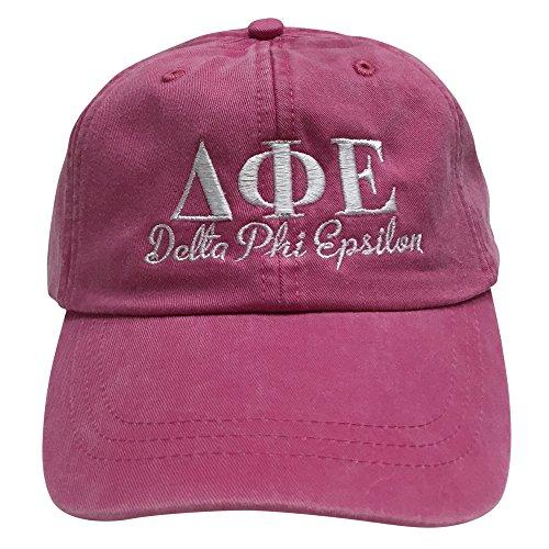 Delta Phi Epsilon (S) Hot Pink Designer Sorority Baseball Hat Greek Letter Sports Cap with White Thread One Size Adjustable Strap (Store Ralph Chicago Lauren)
