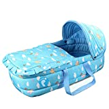 OLizee baby carrycot infant carrier snuggle nest baby infant cribs infant transporter Nursery Portable Infant basket (azure)