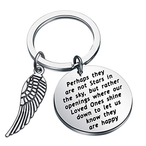 - LQRI Memorial Keychain Perhaps They are not The Stars in The Sky Keychain with Angel Wings Charm in Memory of Loved One Remembrance Gift (Silver)