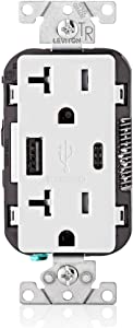 Leviton T5833-W 20-Amp Type-C USB Charger/Tamper Resistant Receptacle, White