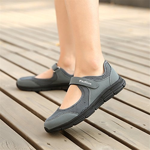 Enllerviid Fitness Shoes Dark Grey Mesh Women Lightweight Fashion Platform Sneakers qnffFgr