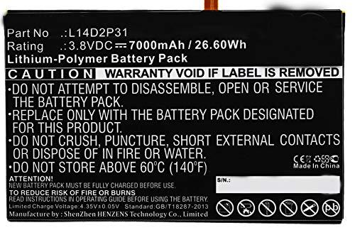 Synergy Digital Battery Compatible with Lenovo Tab 2 A10-70F Tablet Battery (Li-Pol, 3.8V, 7000 mAh) - Repl. Lenovo L14D2P31 Battery by Synergy Digital