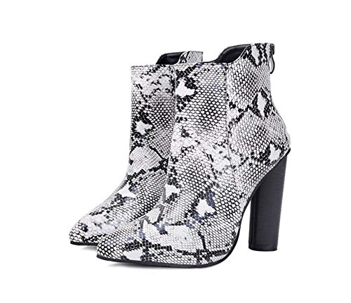 11cm Chunkly Heel Chelsea Bootie Tall Boots Women Fashion Pointed Toe Seude Zipper Pure Color Court Casual Boots 2017 Autumn And Winter New Eu Size 35-41 ( Color : Snakeskin ()