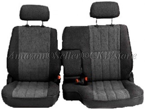 A57 Toyota Pickup 60/40 Split Bench Charcoal Seat Covers, Triple Stitched with 8mm Extra Thick Padding, Adjustable Headrests, Armrest Access, Seat Belt Cutout, Custom Made for Exact Fit 1990 - 1995 (Scotch Guard For Seats)
