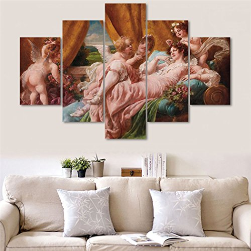 La Toilette Wall Plaque (Wall Decor Modern Painting 19th Century Oil Painting 5 PCS Canvas The Toilette Of Venus After Francois Artwork Art Home Decor for Living Room Pictures HD Printed Framed Ready to Hang(60''Wx40''H))