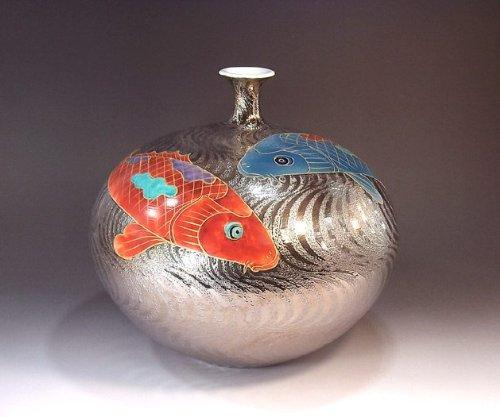 有田焼伊万里焼|花瓶陶器陶芸壺|贈答品|高級ギフト|贈り物|記念品|プラチナ鯉藤井錦彩 B00HI6ZMWU