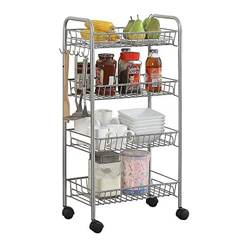 HOME BI 4-Tire Metal Rolling Cart, Lockable Utility Trolley for Kitchen and Bathroom, Silver ()