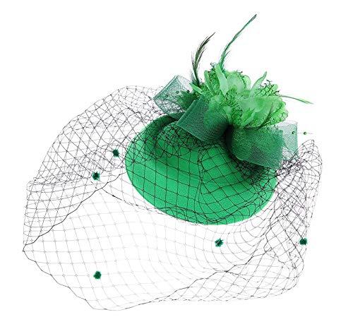 Fascinator Hats Pillbox Hat British Bowler Hat Feather Flower Veil Wedding Hat (Green)
