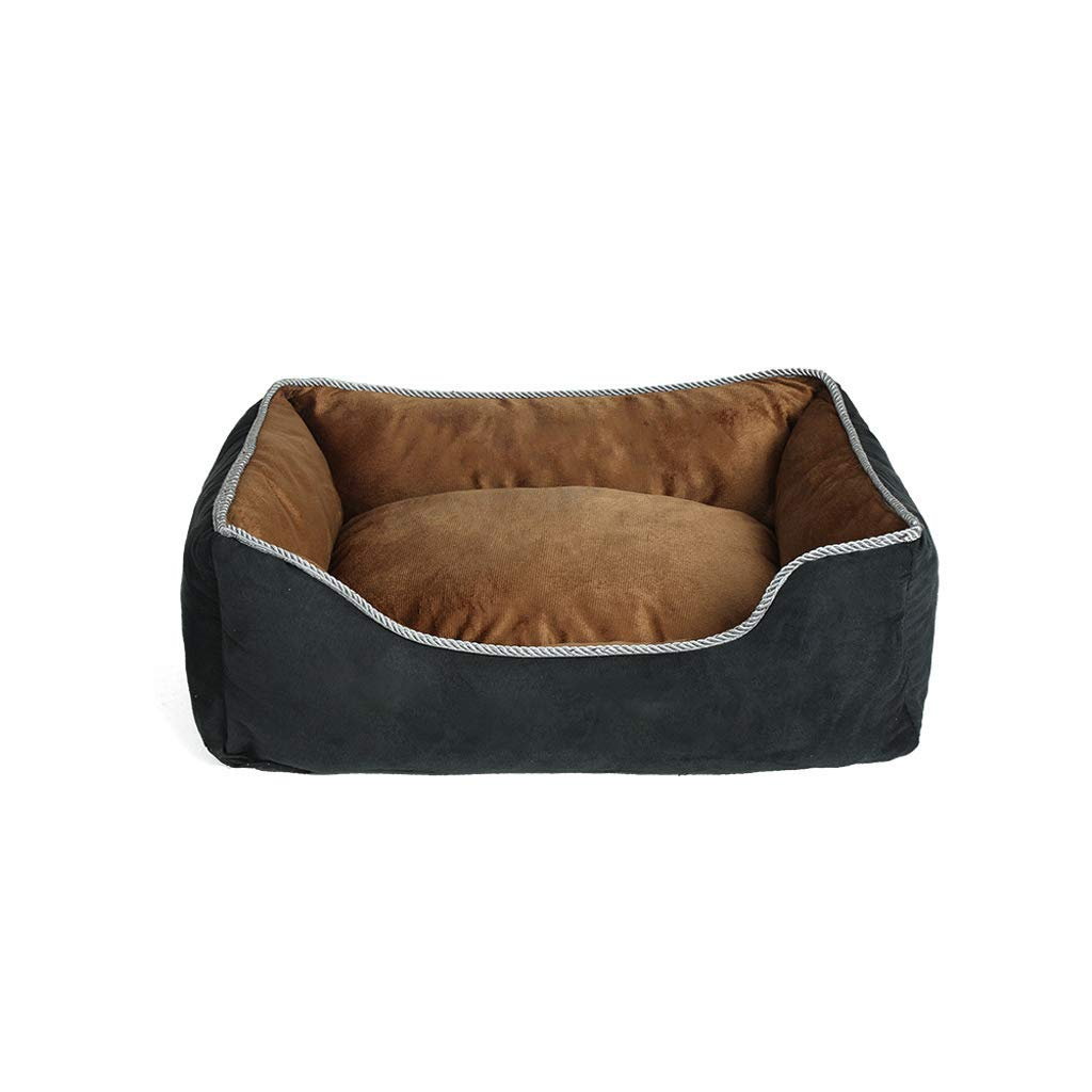 L Coffee color Dog Bed, Kennel Suitable For Large, Medium And Small Dog Mats, Warm And Washable Square Pet Nest In Winter (S, M, L, Xl) (Size   L)