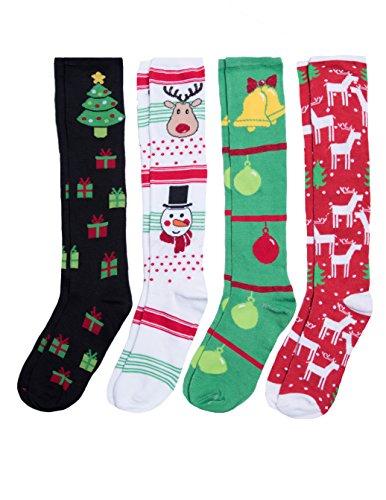 Caramel Cantina Knee High Festive Holiday Christmas Socks 4-Pack (One Size, Deer Prez) Christmas Socks