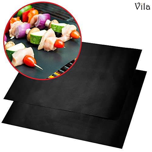 2 Reusable BBQ Grill Mats - High temperature resistant up to 500° Fahrenheit - Heavy-Duty, Easy to clean - Ideal for charcoal grills, electric ovens, microwaves and smokers - Great - Cooker Rectangular Propane Outdoor