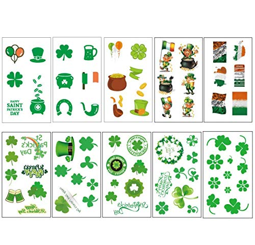St. Patrick's Day Green Shamrock Patterned Tattoos Irish Shamrock Tattoos Large Quantity Suitable for Parties, Parades, Families, Schools ()