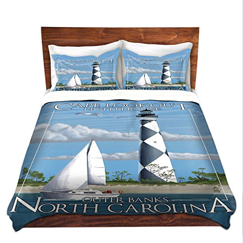 DiaNoche Designs Outer Banks NC Lighthouse Bedroom and Bedding Ideas Cover Brushed Twill Twin King Sets, 3 Queen/Full Duvet Only 88
