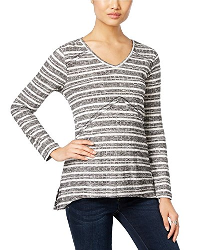 Co Style Ribbed Petites & - Style & Co. Petite Ribbed Striped High-Low Top In Black/Ivory (Petite Medium)
