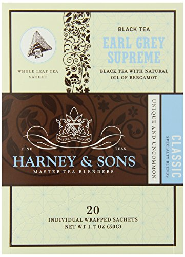 Harney and Sons Earl Grey Supreme Tea, 20 Count (Pack of 6)