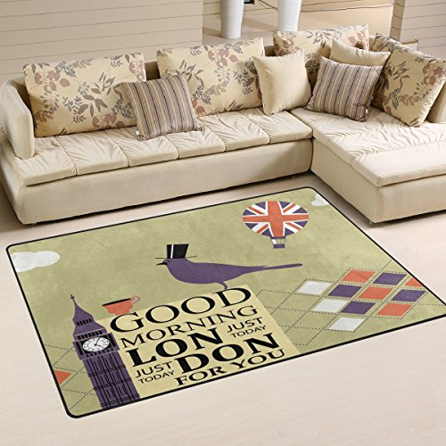 WOZO London Big Ben Bird Union Jack Balloon Area Rug Rugs Non-Slip Floor Mat Doormats Living Room Bedroom 31 x 20 inches]()