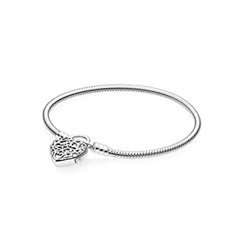 74925f15b Amazon.com: Pandora Smooth Regal Heart Padlock Silver Bracelet ...