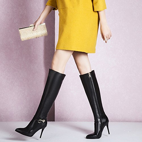 Knee Boots High Toe JIAME Dress High Stiletto Zipper Womens Black Tall 1 Heel Pointed Black 8x7aAwq