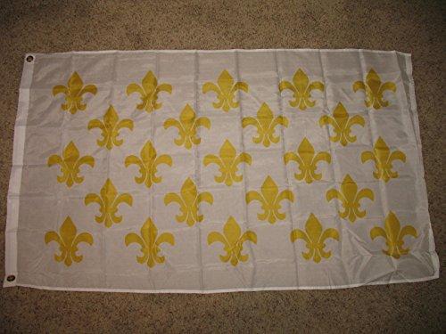 3X5 White New Orleans French 23 Fleur De Lis Flag 3'X5' Hous