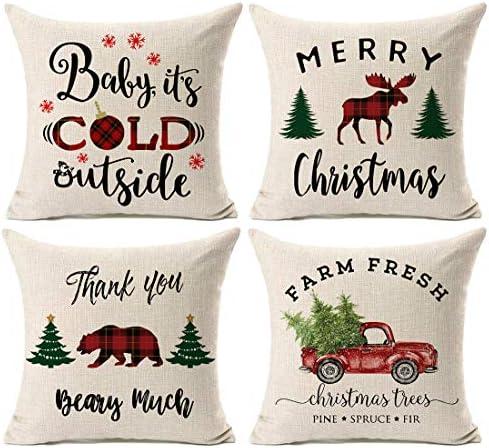 Amazon Com Kithomer Christmas Plaid Throw Pillow Cover Christmas Quote Pillow Case Cotton Linen Farmhouse Decor 18 X 18 Inch Home Kitchen